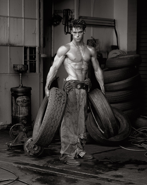 """Herb Ritts, '""""Fred with Tires- Bodyshop Series""""', 1984, Photography, Silver Gelatin Print, Izzy Gallery"""