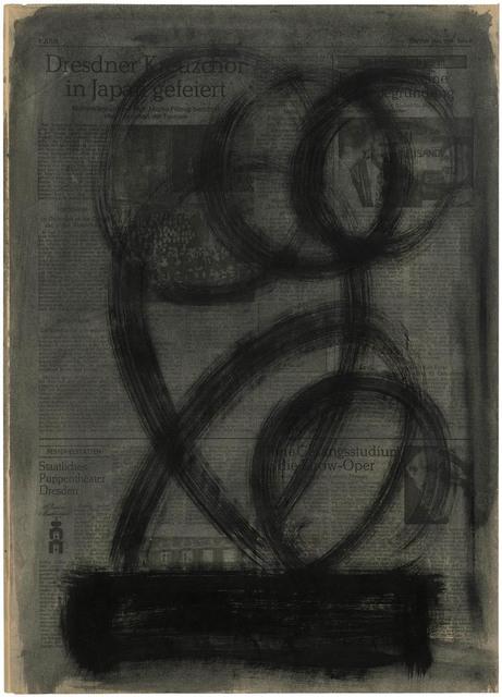 , 'Schwarze Pinselzüge über dunklem Balken, vor grauem Grund,' 1979, Galerie Doebele