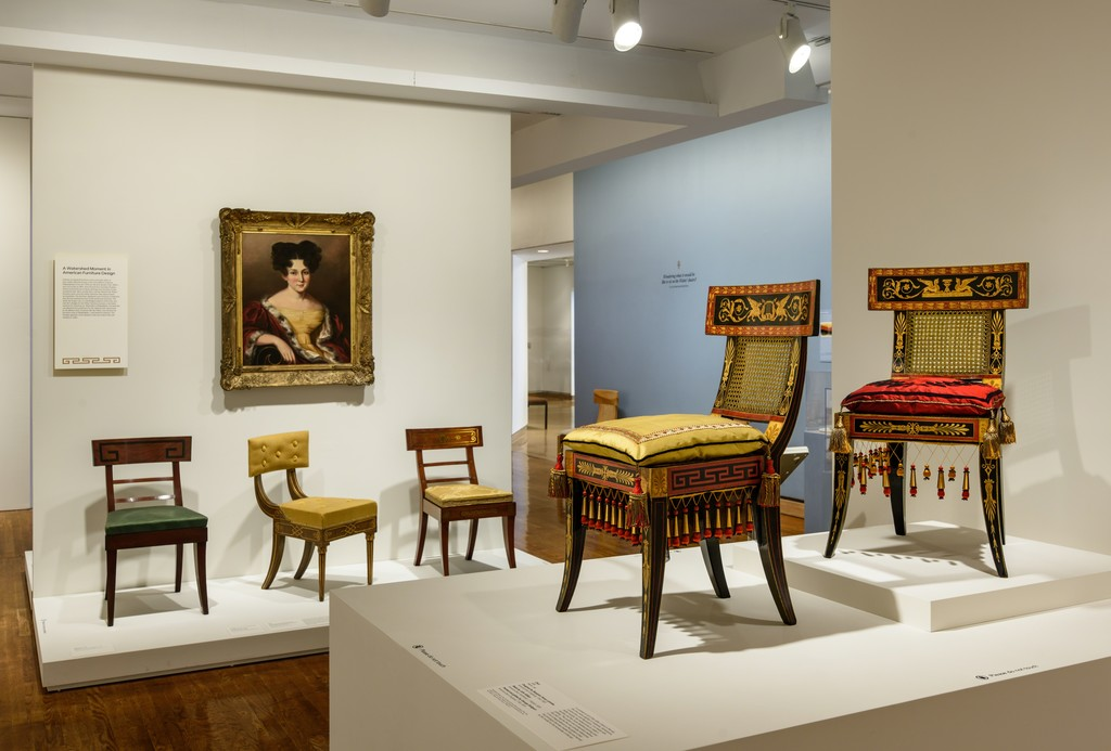 "Installation photograph of ""Classical Splendor: Painted Furniture for a Grand Philadelphia House,"" Courtesy of  Timothy Tiebout and Philadelphia Museum of Art. 2016."