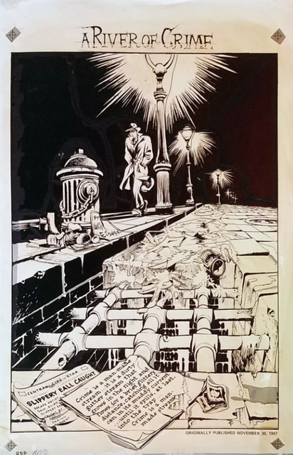 , 'WILL EISNER'S 3D CLASSICS featuring THE SPIRIT (1985) #1 pg 1 A River of Crime title page,' 1985, Gallery 30 South