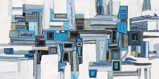 ", '""Essex 36"" Geometric abstract oil painting in greys and blues,' 2010-2018, Eisenhauer Gallery"