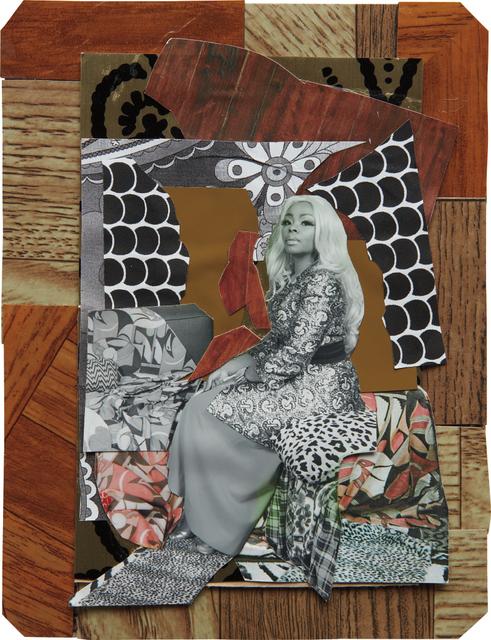 Mickalene Thomas, 'Din avec la main dans le miroir', 2008, Mixed Media, Mixed media collage, Phillips