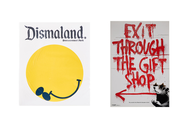 Dismaland Bemusement Park program, 2015 and Exit Through the Gift Shop poster, 2010