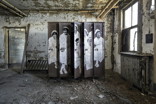 , 'Unframed, Nurses at Ellis Island Hospital revu par JR, U.S.A., 2014,' 2014, Lazinc