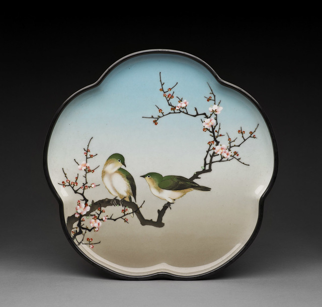 , 'Tray with Birds and Cherry Blossoms,' Meiji Period, c. 1900, 1910, Harn Museum of Art