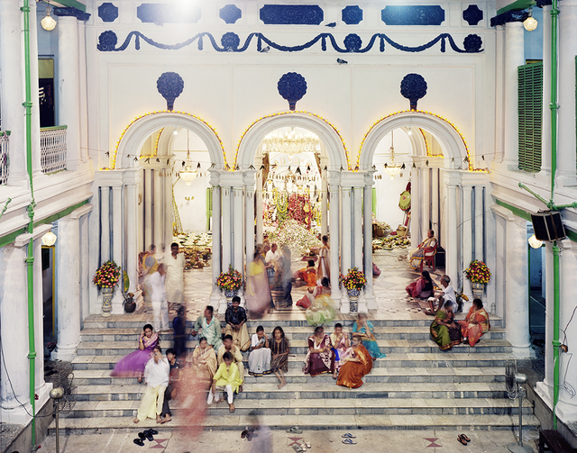 Laura McPhee, 'Family Gathering During Durga Puja, Dwarika House, North Kolkata', 2009, Photography, Archival pigment ink print, Benrubi Gallery