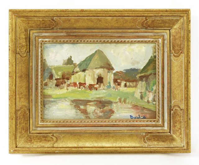 Ronald Ossory Dunlop, 'COWS IN A FARMYARD', Painting, Oil on canvas laid down on board, Sworders