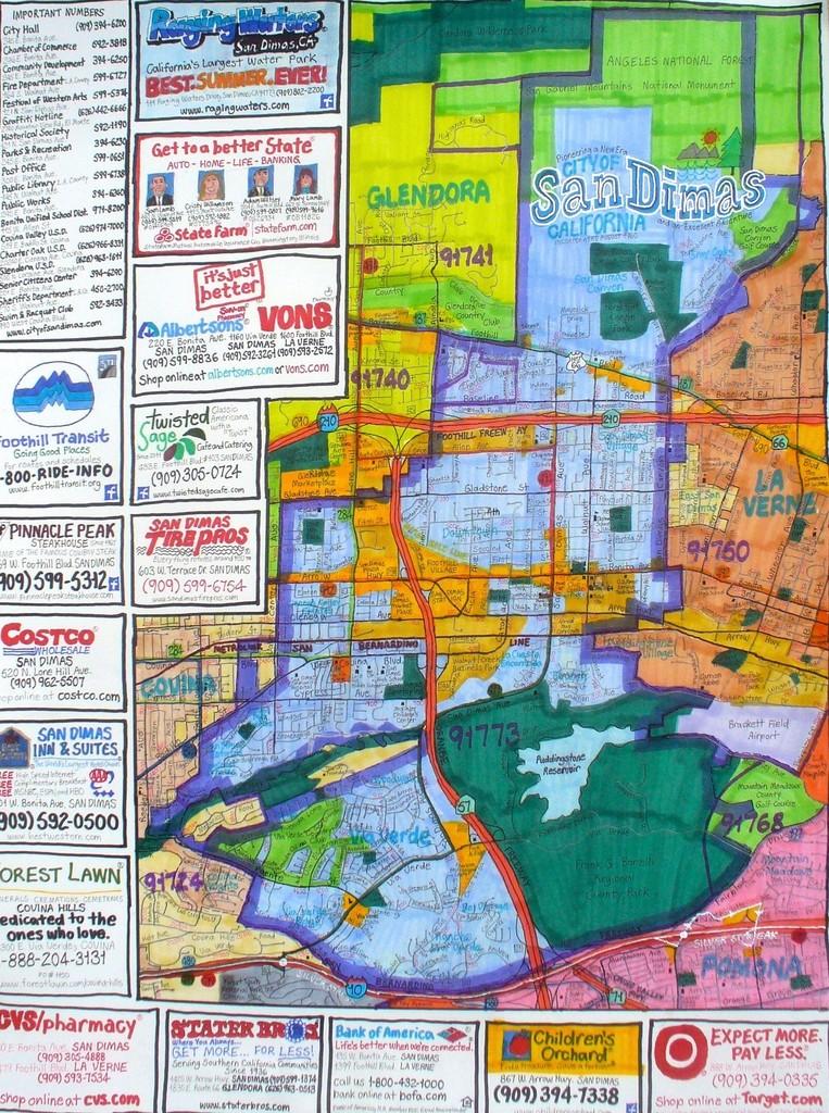 Street Map Of San Dimas 2014 Joe Zadivan