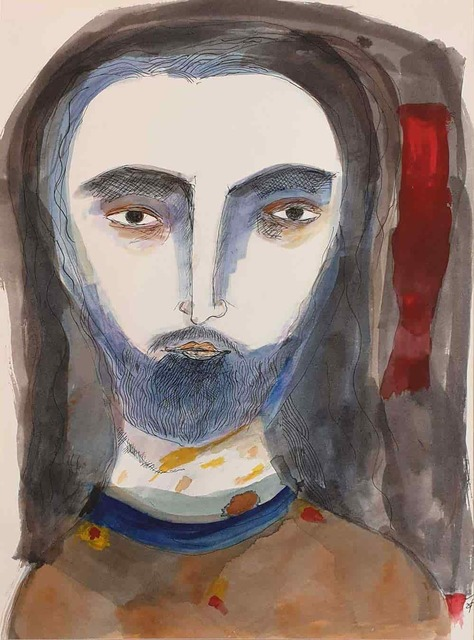 """, 'Jesus the Christ, Watercolor on Paper, Brown, Blue, Red by Indian Artist Badri Narayan """"In Stock"""",' 2007, Gallery Kolkata"""