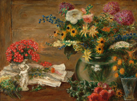 , 'Still Life with Flowers, Vase and Statue of a Cherub,' 1940, Kiechel Fine Art