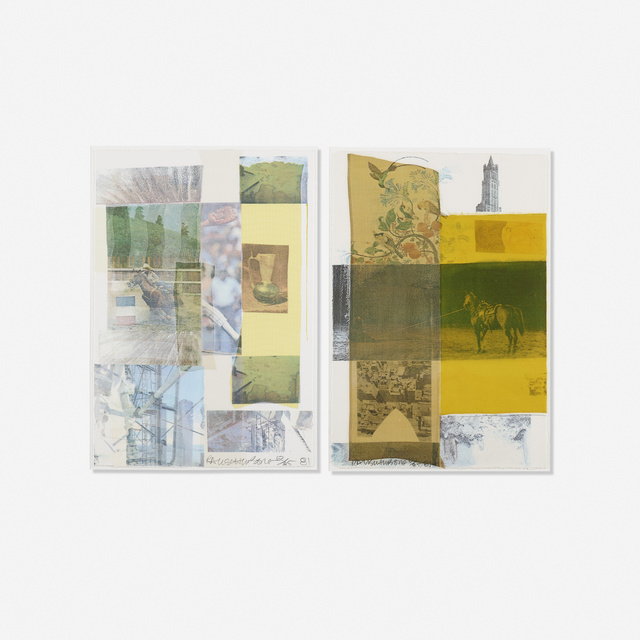 Robert Rauschenberg, 'Arcanum IV and Arcanum VIII (two works)', 1981, Print, Screenprint in colors, silk collage and watercolor on paper, Rago/Wright