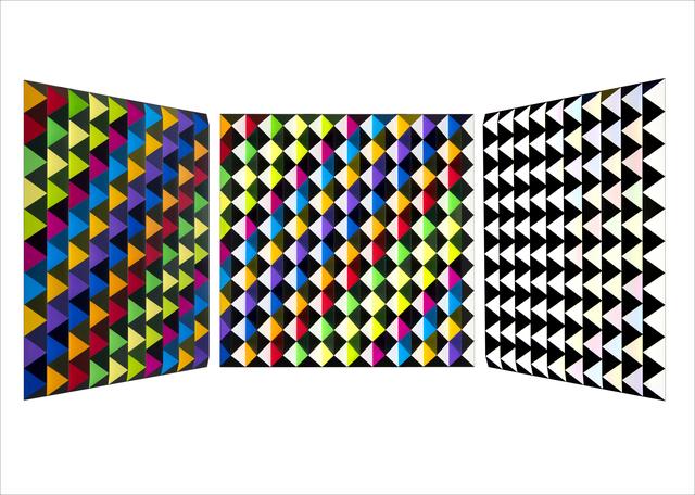 Roland Helmer, 'V77 - Bunt,unbunt-dunkelblau-diagonal ', 2018, Joerg Heitsch Gallery