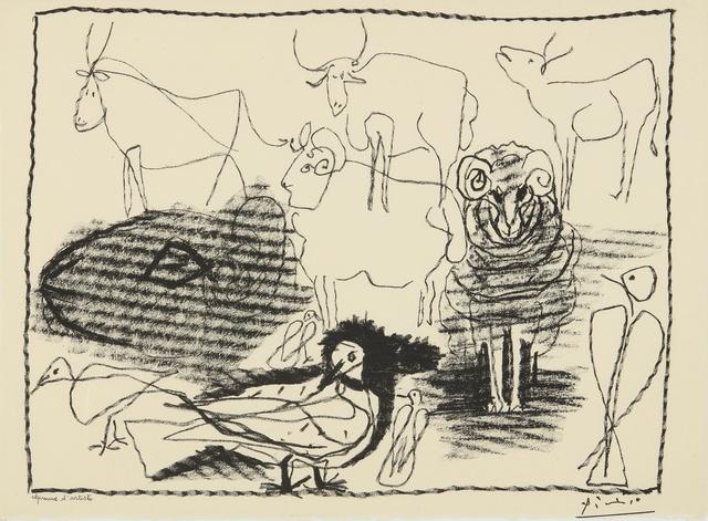 Pablo Picasso, 'Taureaux, béliers et oiseaux (B. 1344; M. 21)', 1945, Print, Lithograph, Sotheby's