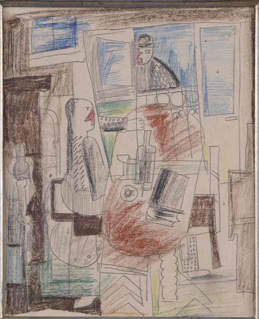 Henryk Streng/ Marek Włodarski, 'Woman at the table', 1925, Drawing, Collage or other Work on Paper, Crayon, pencil on paper, Olszewski Gallery