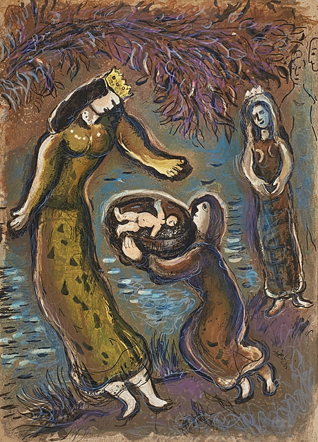 Marc Chagall, 'Pharaoh's Daughter and Moses from The Story of Exodus', 1966, Print, Lithograph in colors (framed), Rago/Wright
