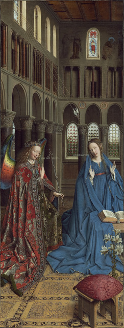 Jan van Eyck, 'The Annunciation', ca. 1390-1441, Painting, Oil on canvas transferred from panel, National Gallery of Art, Washington, D.C.