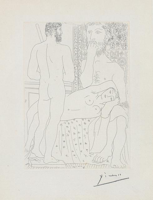 Pablo Picasso, 'Sculpteur, modèle couché et sculpture (Sculptor and Model Lying with Sculpture), plate 37 from La Suite Vollard', 1933, Phillips