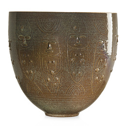 Fine large early vessel with figures and fish