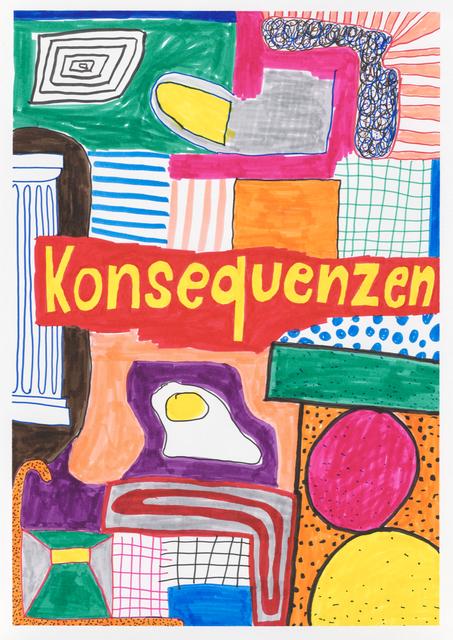 Georg Weißbach, 'Konsequenzen', 2020, Drawing, Collage or other Work on Paper, Marker pen on paper, Galerie Kleindienst