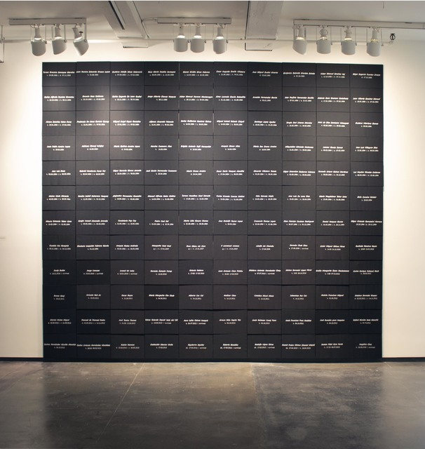 , 'Guatemala Memorial Project: selected names from Diario Militar & GHRC Tracking Human Rights,' 2019, Tyler Rollins Fine Art