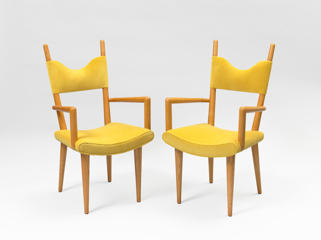 ", 'Pair of ""baltique"" bridge armchairs,' ca. 1950, Galerie Jacques Lacoste"