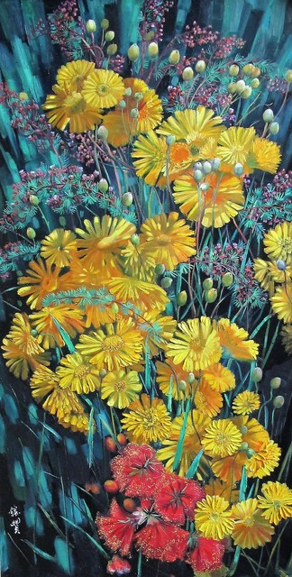 Zhang Shengzan 张胜赞, 'Blossom in fireworks', 2018, Painting, Oil on canvas, A-Art Shengzan Gallery