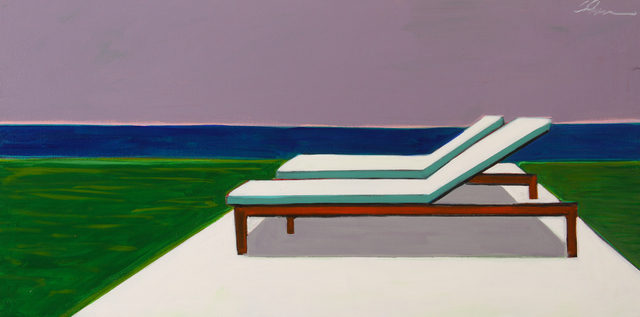 Melissa Chandon, 'Two Chaises with Ocean View', 2019, Painting, Acrylic on Canvas, Caldwell Snyder Gallery