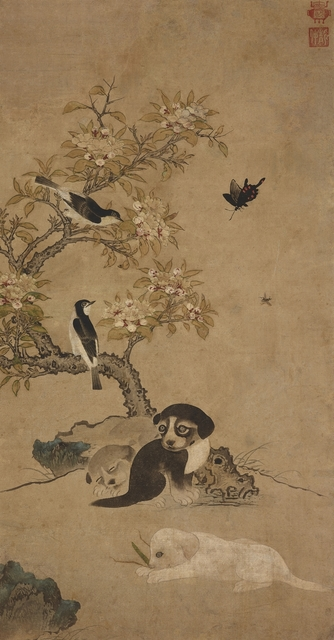 , 'Blossoms, Birds and Puppies,' Joseon Dynasty-Mid 16th century, Leeum, Samsung Museum of Art