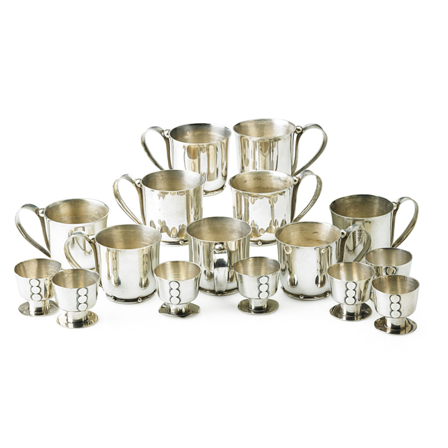 William Spratling, 'Nine Assembled Handled Cups And Set Of Seven Liqueur Cups, Taxco, Mexico', 1950s-60s, Rago/Wright