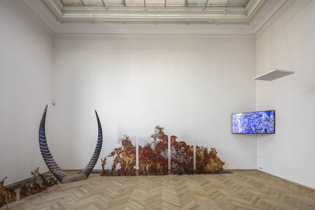 "Katja Novitskova, ""Expansion Curves (fire worship, purple horns)"", 2016 et. al. Installation view, 'Welcome Too Late', Kunsthal Charlottenborg, 2017. Photo by Anders Sune Berg."