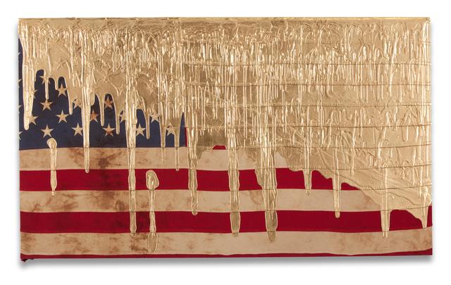 , 'Gold Dripping Flag (Exposed),' 2017, Fabien Castanier Gallery
