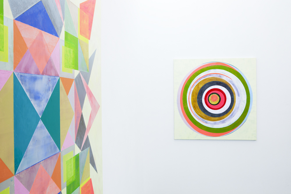 Installation shot with 'Pling # 2' (left, detail) and 'Eclipse # 2'; photo: Lukas Heibges