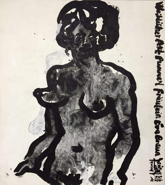 , 'These are still nude paintings - copies of life drawings by Adolf Hitler No.1 还是女人体 -临希特勒的写生 1号, 2015,' 2015, Ink Studio