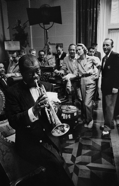 Bob Willoughby, 'Louis Armstrong, Bing Crosby & Grace Kelly, on the set of 'High Society' at MGM Studios', 1950, ElliottHalls