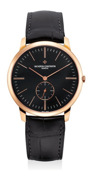 Vacheron & Constantin, 'A fine, large and very rare pink gold wristwatch with black dial, numbered 161 of a limited edition of 250 pieces', 2005, Phillips