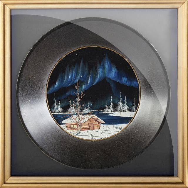 Bob Ross, 'Bob Ross Signed Original Oil on Velvet inside Gold Pan Painting Contemporary Art', 1970-1990, Modern Artifact