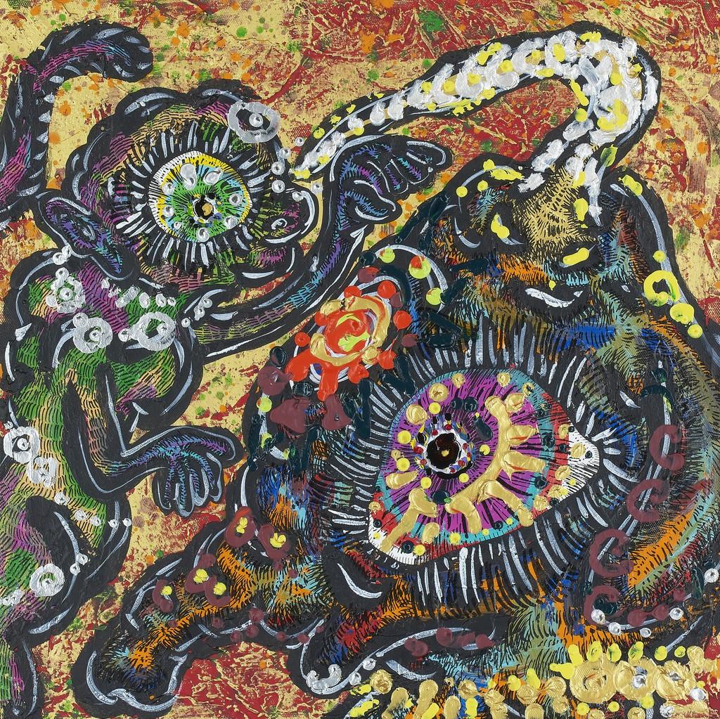 Miwa Komatsu, End of the Jungle, 2019, acrylic and mixedmedia on canvas, 45.5 × 45.5 cm