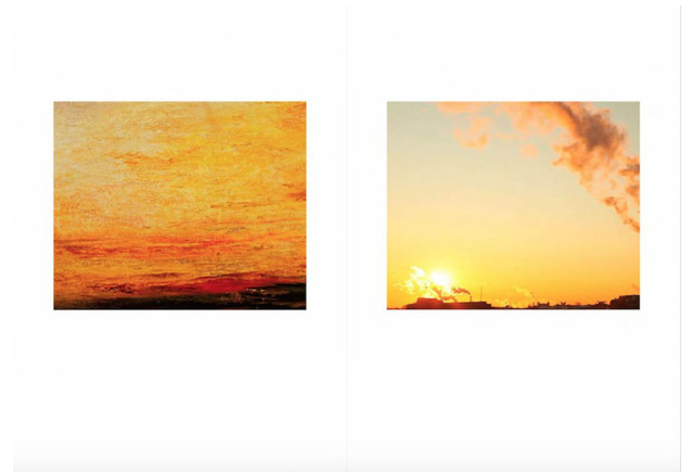 , 'From the series, 'Seven Sunsets' (Left: Joseph Mallord William Turner, Sunset, c.1830-5: detail, oil on canvas &  Right: Detail from a screenshot of an image found on Google Images with the keywords 'AQI + air pollution in China 2015'.,' 2016, East Wing