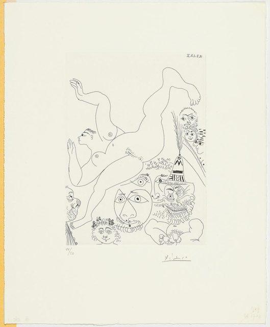 Pablo Picasso, 'Télévision: Gymnastique au sol, avec spectateurs', 1968, Print, Etching, Koller Auctions