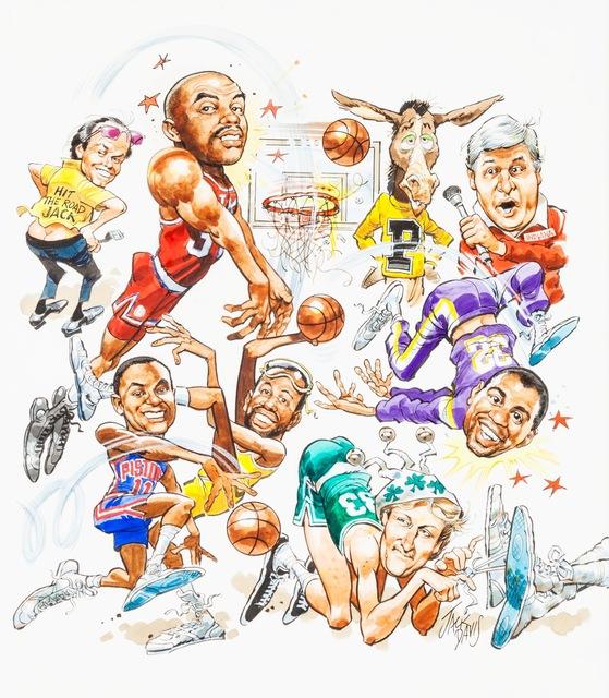 Jack Davis, 'Basketball Superstars Comic Illustration; Original Art ', 1980-1989, The Illustrated Gallery