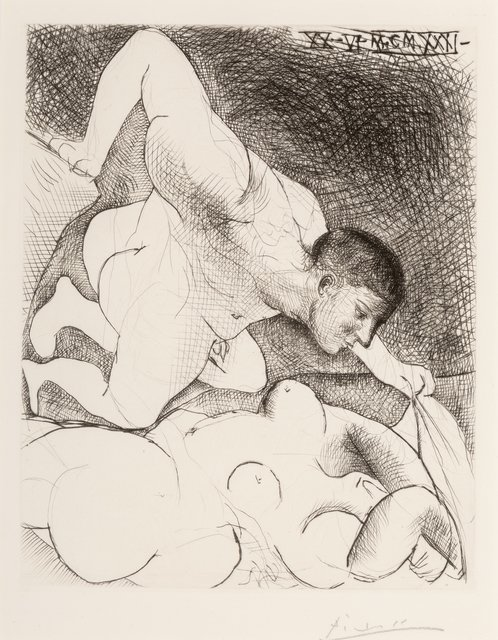 Pablo Picasso, 'Homme devoilant une femme, pl. 5, from the Vollard suite', 1931, Print, Drypoint on Montval laid paper, Heritage Auctions