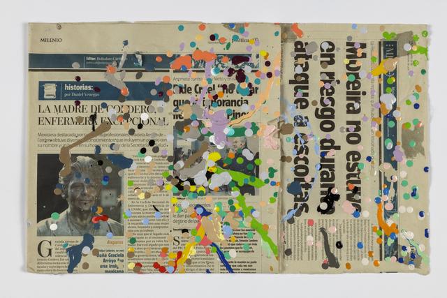 Abraham Cruzvillegas, 'Autorretrato laissez faire plastigomerado antropocénico neoténico del capitalismo mortuorio desregulado anóxico sordo, ciego, mudo, cojo, no contemplado por el Protocolo de Kioto, 5', 2016, Acrylic paint on paper, The Kitchen
