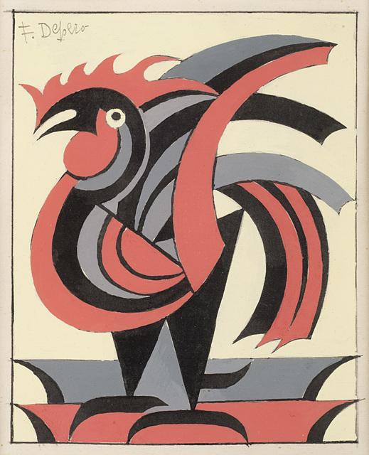 Fortunato Depero, 'Il gallo', 1952, Il Ponte