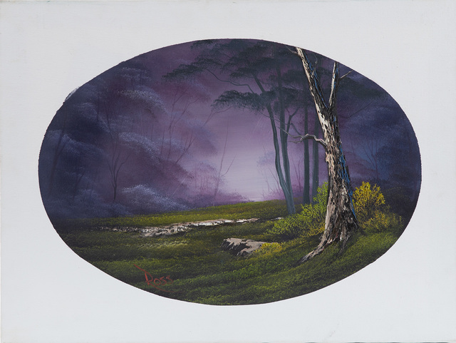 Bob Ross, 'Bob Ross Signed Original Episode Piece Misty Forest Oval Contemporary Art Painting ', 1970-2000, Modern Artifact
