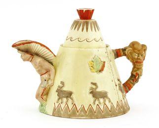 A Clarice Cliff novelty 'Teepee Teapot'