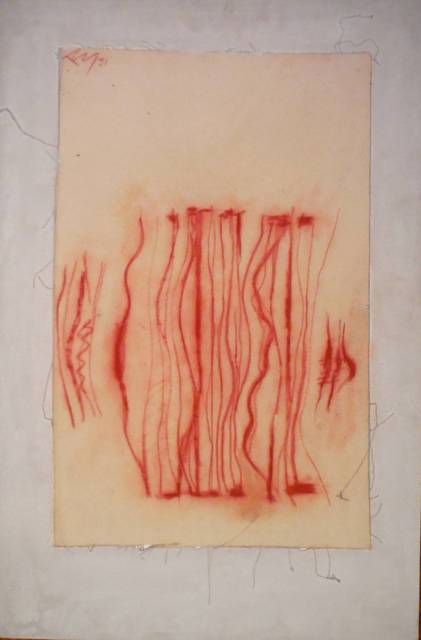 Adja Yunkers, 'City Walkers, Sanguine Drawing on Canvas', 1980-1989, Lions Gallery