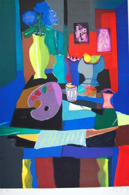 Marcel Mouly, 'Nature Morte et Pallete', 1992, Print, Lithograph on Arches Paper, Baterbys