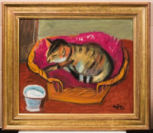 Henri Hayden, 'Le chat et son pot de lait', Painting, Oil on masonite, Leclere