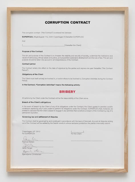 , 'Corruption Contract/Bribery,' 2012, von Bartha