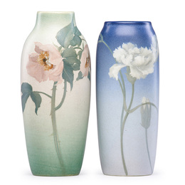 Two Vellum vases with carnations (uncrazed) and roses, Cincinnati, OH